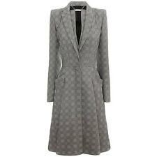 Alexander McQueen Luxurious Grey Tone Box Pleat A-Line Coat IT42 UK10