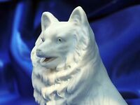 Antique white dog Bisque ELEGANT European Spitz Husky dog Samoyed Eskimo dog *