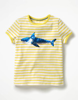Mini Boden Sequin Color Change Shark Shirt Size 7-8Y Yellow Striped Blue Pink