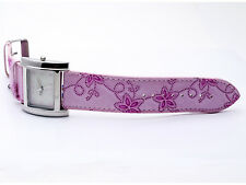 CHARLES DELON: WOMENS' PINK EMBROIDED LEATHER BAND ANALOG QUARTZ WATCH