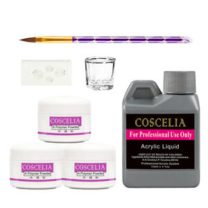 Coscelia 3*8g Nail Art Acrylic Powder Liquid Tips DIY Practice Primer Tool Set