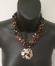 The Amazon Wild Necklace wooden Shell Handmade One of a kind Vintage Chick