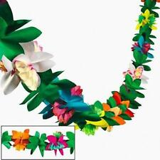 1 Luau Tiki Hawaiian Tropical Party Decorations Flower Tissue Garland 9Ft Fun Ne