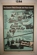CURSE OF THE FLY/DEVILS OF DARKNESS Original 1sh Movie Poster 1965  double-bill!