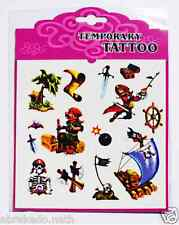 1 PLAQUE DE 14 TATOUAGES TEMPORAIRES PIRATE TATOO NF