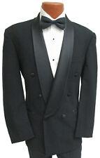 Mens Black Oscar de la Renta Tuxedo Jacket Double Breasted Satin Shawl Lapel 42S