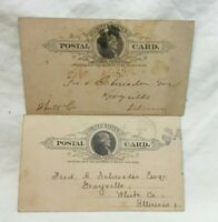 *Two 1889 Albion Illinois Postal Card county clerks office general Postal Cards