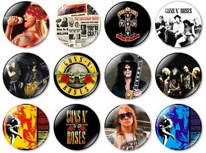 12 x Guns & Roses 32mm BUTTON PIN BADGES Band Axl Slash Heavy Rock Metal Album