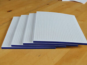 4 Notizblöcke, Notizblock, Block DIN A5, blauverleimt, kariert, 50 Blatt
