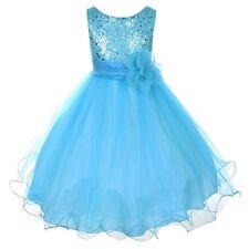 Navy Blue Flower Girls Sequin Glitter Beaded Dress Christmas Pageant Graduation