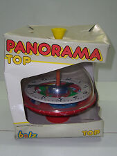80'S VINTAGE BOLZ LBZ SPINNING TOP TIN LITHO WEST GERMANY CLOCK MIB VERY RARE