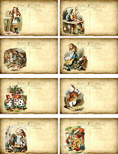 Vintage inspired Alice in Wonderland post cards set of  8