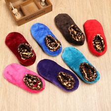 Women Winter Warm Leopard Bed Non Slip Home Indoor Slippers Floor Socks Size