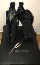 Brian Atwood 8  Booties Ankle Boots Black Suede Figara Patent Leather MIB