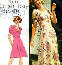 """Vintage 70s does 30s DRESS Sewing Pattern Bust 34"""" 87 cm Sz 10 RETRO Maxi PARTY"""