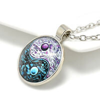 NEW Ying Yang Butterfly Cabochon Glass Tibet Pendant Necklace Silver Chain E7