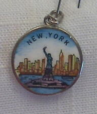 Vintage Sterling/Enameled REU Statue of Liberty New York Skyline Bracelet Charm