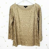 NWT J Crew Top Size Small S Gold Sequined 3/4 Sleeves Boatneck Festive Party