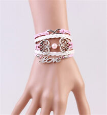 NEW Infinity LOVE Pearl Heart Friendship Leather Charm Bracelet silver Cute
