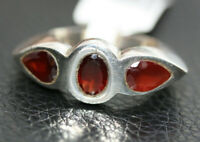 Sterling Silver 2.4CT Three Stone Garnet January Birthstone Women's Ring Sz 6.75