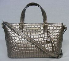 NWT! Brahmin Lisbon Collection Mini Asher Satchel/Shoulder Bag in Taupe. Glossy!