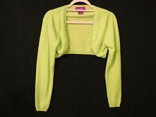 Suzanne Somers Medium 100% Cashmere Bright green Cardigan shrug womens sweater