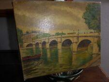 Tableau huile sur toile vue de Paris magasin la belle jardinière 1930's