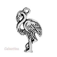 10 Antique Silver Alice In Wonderland Flamingo Charms -  23mm x 13mm