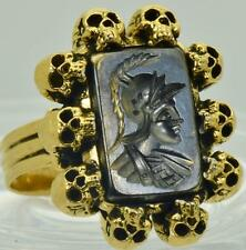 ONE OF A KIND Victorian MEMENTO MORI SKULL 18k Gold&Sardonyx Cameo Intaglio ring