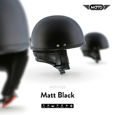 MOTO D22 MATT BLACK - JET-HELMET VESPA SCOOTER RETRO PILOT VINTAGE S M L XL XXL
