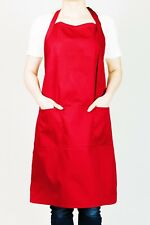 "Adjustable Bib Chef Apron for Men & Women, 28"" X 32"" with 3 Pockets - Red Color"