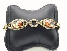 Sterling Silver 925 Gold Tone Emerald Cut Citrine CZ Halo Tennis Bracelet 7''