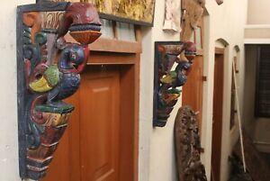 Peacock Corbel Pair Wall Bracket Blue Bird Wooden Sculpture Vintage Home Decor