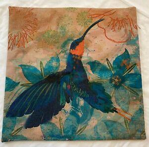 "Hummingbird Print Bird Pillow Case Cover Home Decor 17""x17"" Blue Floral Vibrant"