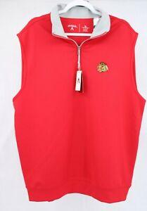 Antigua Chicago Blackhawks Mens 1/4 Zip Pullover Sweatshirt XL Sleeveless *READ*