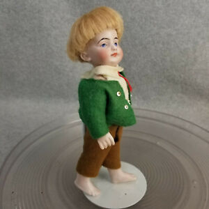 """7"""" antique bare foot all bisque German jointed Boy Doll with solid dome head"""