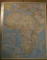 Large Rare Vintage National Geographic Society Wall Map of Africa 32x42 1968