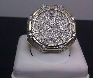 Vintage 10K Yellow Gold Filled White Sapphire Ring Women Men Wedding Jewelry Sz8
