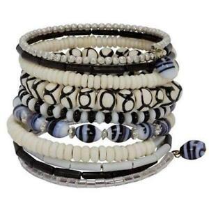 Ten Turn Bead and Bone Bracelet - Black & White Fair Trade India