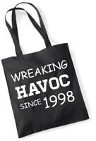 21st Birthday Gift Tote Shopping Cotton Novelty Bag Wreaking Havoc Since 1998