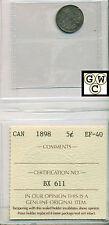 1898 Canada 5 Cent ICCS EF 40