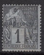 GUADELOUPE  TIMBRE COLONIE  FRANCE  NEUF  N° 14 * SURCHARGE DECALE