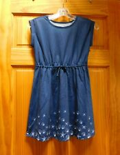 Girls So Roll Cuff Tie Waist Dress Size 10 Blue & Shells Kids Clothing Cute