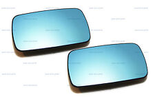 PAIR OF BMW E46 BLUE TINTED CONVEX MIRROR GLASS + BASE HEATED LEFT + RIGHT