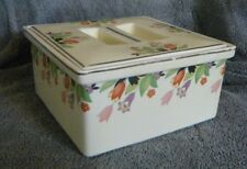 Hall China Co. CROCUS Line/Pattern Covered Refrigerator Leftover Container Dish
