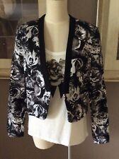 Bardot Black Floral Jacket Blazer Coat Crop 12 / 14