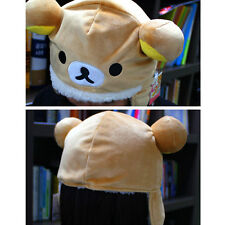 Cute&Soft Brown Rilakkuma Bear Winter Hat Ear Warmer Animal Plush Fluffy Cap