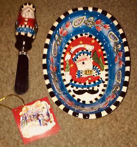 Christmas Santa Bowl & Spreader Set 2009Blue Sky by Heather Goldminc Ceramic