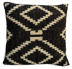 Indian Wool Jute Hand Woven Black Cushion Cover Hand Made Throw Pillow Case 1046