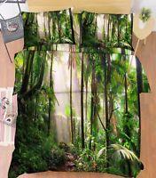 3D Foresta Pluviale Letto Federe Trapunta Piumone Copertina Impostato Singolo IT